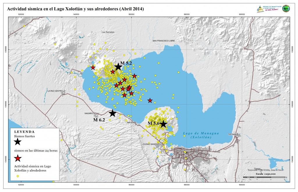 Earthquake swarms such as this one in April 2014 at Momotombo stratovolcano and the Chiltepe complex clearly show the area to be very active. (INETER)