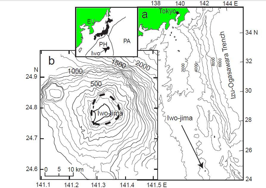 Fig. 1. (a) Map showing the location of Iwo-jima. (b) Bathymetric map of Iwo-jima area. The dotted circle indicates the caldera rim. The plate boundary map is inset, where EU, PA and PH indicate the Eurasian, the Pacific and the Philippine Sea plate, respectively. (Ukawa et. al. 2006)